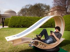 Developed by architecture students at MIT, SOFT Rocker is a solar powered outdoor rocking lounger whereby you can relax and recharge your electronics.