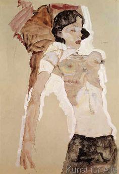 Artist: Egon Schiele (-) - all paintings from this artist available as fine art prints, canvas prints, paper prints or hand painted oils. Gustav Klimt, Figure Painting, Painting & Drawing, Painting Inspiration, Art Inspo, Egon Schiele Drawings, L'art Du Portrait, A Level Art, Art Et Illustration