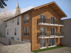 Infografía para arquitectura de edificio de viviendas en Suiza. Podéis mirar por las ventanas y ver el interior :)