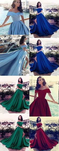 elegant satin v-neck off prom dresses long formal evening gowns with front split