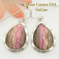 Chocolate Rhodochrosite Sterling Earrings Navajo Artisan Robert Concho NAER-1528 Four Corners USA OnLine Native American Jewelry