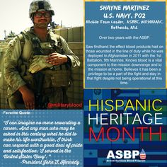 Celebrating Hispanic Heritage Month: PO2 Shayne Martinez, Mobile Team Leader at our donor center at Walter Reed National Military Medical Center in Bethesda, Md. #hispanicheritage #donateblood #alltypesneeded #infuselife #military