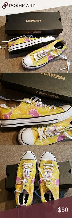 New with box Converse lemonade sneakers New with box! Adorable Converse lemonade sneakers. Yellow and purple, size 11 women's. Converse Shoes Sneakers