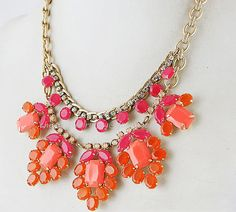 2013 J Crew Inspired Necklace, Gem Stone Bib Necklace, Rhinestone Crystal Statement Jewelry, Bridal Wedding Necklace