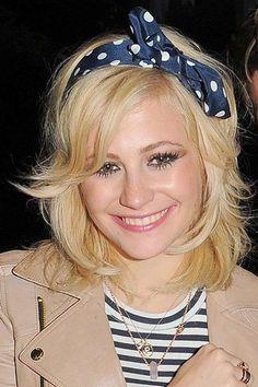 Pixie Lott headband with layered mid-length style