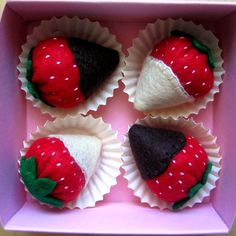Play food Felt strawberries in chocolate set of 4 by DusiCrafts, $10.00
