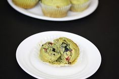 Green tea muffins with blueberries and pomegranates
