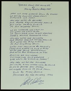 """""""Micky Dolenz Signed & Hand-Written Lyrics To The Theme Song """"The Monkees"""" """""""