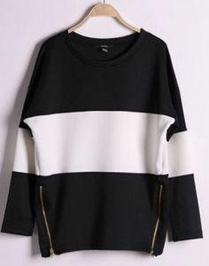 Black Contrast White Long Sleeve Side Zip Sweatshirt