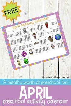 Preschool Activity Calendar for April