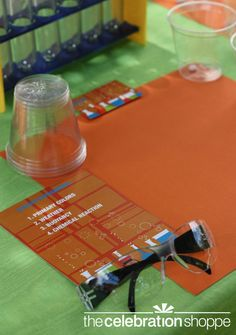 Science experiment station activity for a science themed birthday party