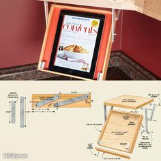 Keep your tablet handy—and safe. Follow recipes online without worrying about spills frying your expensive tablet.This tray will keep your tablet computer off the countertop. As it swings down, it also swings forward, so the tablet isn't hidden under the cabinet. The mechanism is simple; just make and position the arms exactly as shown here and it will work smoothly. We cut the aluminum parts and rounded the corners with a grinder. When closed, small cabinet door magnets hold up the tray. We…