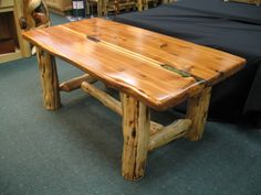 elk antler coffee table. redwood top with turquoise inlay | new