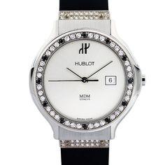 Hublot Hublot MDM Black and White Diamond Bezel Stainless Steel Womens Watch…