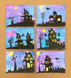 These amazing haunted houses were created by my Grade 1/2 class.      It was inspired by  this  lesson by  Art Teacher in LA .     First...