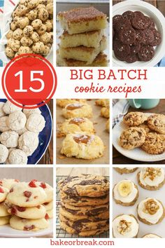 15 Big Batch Cookie Recipes – Bake or Break When only lots and lots of cookies will do, these big batch cookie recipes are just what you need. With lots of variety, you're sure to find just the cookie to suit your cookie-loving crowd! – Bake or Break Galletas Cookies, No Bake Cookies, Yummy Cookies, Biscotti Cookies, Baking Cookies, Cake Cookies, Big Batch Cookie Recipe, Big Cookie, Chocolate Chip Cookies