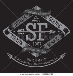 Denim San Francisco typography, t-shirt graphics, vectors