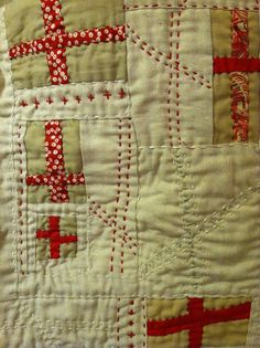 Red Cross Quilt close-up by Natalie Turner-Jones