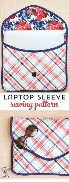 Gratuit rembourré pour ordinateur portable manchon baladeur Patron de couture sur polkadotchair.com