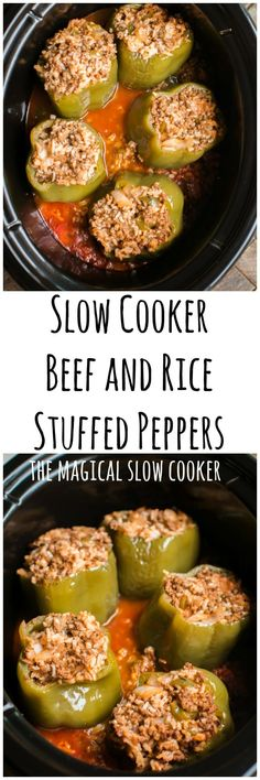 Slow Cooker Beef and Rice Stuffed Peppers #crockpot #slowcooker #stuffedpeppers #easyrecipes #dinner