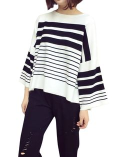 Casual Women Striped Batwing Sleeve High Low Blouse