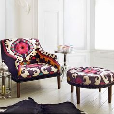 Suzani Print Bath Button Back Armchair and Footstool - Armchairs - Shop By Item - Sofas & Upholstery