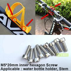 Bike Bicycles Water Bottle Cage Bolts Stainless Steel Threaded Screws for Stem/Bottle Holder Bracket Rack Cycling Water Bottle Holders, Bicycles, Cage, Cycling, Stainless Steel, Free Shipping, Biking, Bicycling, Bike