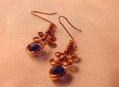 Orecchini handmade in rame e perlina blu scuro #Earrings #handmade Wire Jewelry, Drop Earrings, Fashion, Moda, La Mode, Fasion, Wire Wrapped Jewelry, Fashion Models, Dangle Earrings
