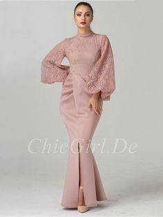 cabdf8ad135 Mermaid Evening Dress Ball Gown High Neck Old Pink Lace Satin With Sleeves  Slit