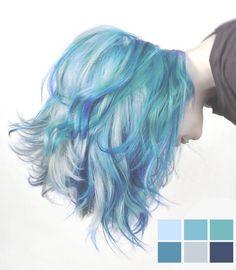 Mermaid Hair Color for Short Hair - Hair Style Dye My Hair, Your Hair, Pelo Multicolor, Color Fantasia, Coloured Hair, Colored Short Hair, Short Blue Hair, Short Colorful Hair, Curly Short