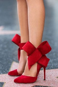 Romantic red bow detail high heels
