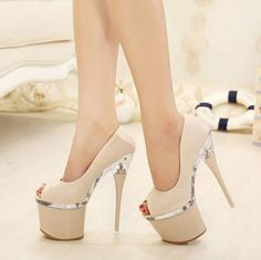 Popular Hot Selling Chic Designed Elegant Style Solid Color Platform Peep-toe High Thin Heels