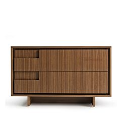 Custom furniture Nordic style minimalist design new models nightstand drawers natural walnut leather furniture
