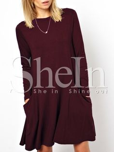 Robe manches longues avec poches -bordeaux rouge-French SheIn(Sheinside)