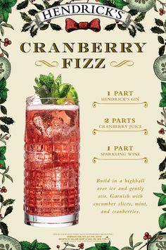 Looking for an easy gin cocktail for your holiday party? Well, look no further! Hendrick's makes hosting simply delectable with our festive Cranberry Fizz. How to Make: In a highball, mix 1 part HENDRICK'S GIN, 2 parts Cranberry Juice, and 1 part Sparkling Wine. Garnish with cucumber slices, cranberries, and serve. Please drink the unusual responsibly. #HendricksGin #GinCocktail