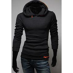 Fashion Solid Color Zipper Embellished Long Sleeves Cotton Blend Hoodie For Men - Black - M - BLACK M