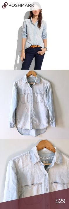 Madewell Chambray Ex-boyfriend Shirt Perfect distressed chambray ex-boyfriend shirt in ferrous wash by Madewell. Slightly longer back hem. There's something both utterly modern and old-school charming about this wear-everywhere piece. (It probably has something to do with the dapper oversized fit.) Boyfriend fit so can fit a size small or medium. Check measurements below. Cotton. Machine wash. Some yellowing in the armpit shown in image. Distress marks also shown in image. Across the chest…