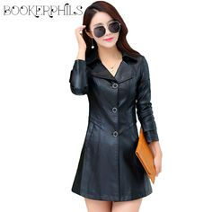 2017 New Fashion Single Breasted Long Faux Leather Jacket For Women Female Outerwear Ladies PU Jackets And Coats Plus Size