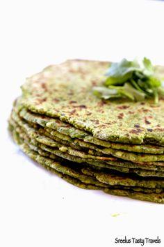 Sreelus Tasty Travels Protein Rich- Super Healthy- Spinach, Mint, Cilantro, Avocado & Paneer Parata/Bread #food