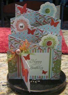 Cascading card, birthday card with video tutorial. It appears to be easier to make than I would have imagined.