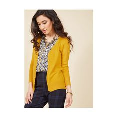 Scholastic Mid-length 3 Button Down Charter School Cardigan ($40) ❤ liked on Polyvore featuring tops, cardigans, apparel, sweaters, yellow, button up cardigan, button down cardigan, yellow cardigan, yellow knit cardigan and 3/4 sleeve knit tops