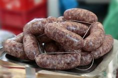 "How to make saucisson sec, a classic French dry-cured sausage, at home from ""The New Charcuterie Cookbook"" by Jamie Bissonnette. Sausage Meat Recipes, Homemade Sausage Recipes, Meatball Recipes, Kielbasa Sausage, Chorizo, Spanish Pork, Sausage Casing, Smoker Cooking, Pizza"