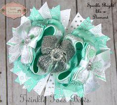 Sparkle Bright Like A Diamond Boutique Hair Bow by TwinkleToesBows on Etsy