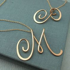 14k gold filled Calligraphy Necklace-any initial available by Laladesignstudio on Etsy