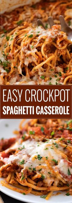 This Crockpot Spaghetti Casserole is every bit as tasty as it is easy! Even the pasta cooks right in the slow cooker alongside the flavorful meat sauce, making this the ultimate weeknight meal! | #spaghetti #casserole #crockpot #slowcooker #Italianfood #weeknightmeal