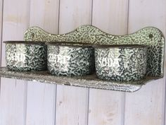 Antique Dutch laundry rack / soap shelf // Enamel wall Rack // Herb pots - pinned by pin4etsy.com