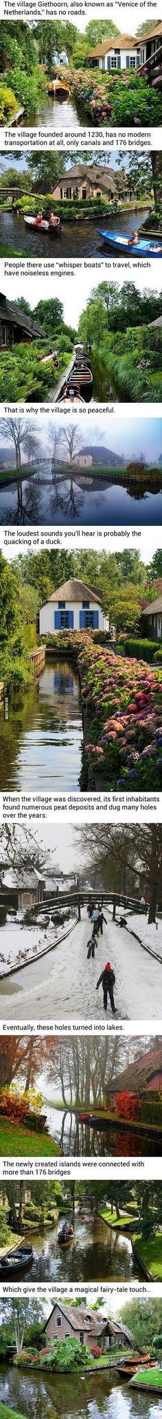 Kylä Hollannissa jossa ei ole lainkaan teitä