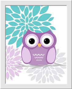 Baby Girl Nursery Wall Art Purple Aqua Teal Lavender Gray Baby Owl Nursery Decor Girls Room D Baby Owl Nursery, Owl Nursery Decor, Baby Girl Nursery Themes, Baby Owls, Nursery Room, Elephant Nursery, Baby Room, Nursery Ideas, Girl Room