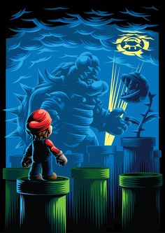 Mario artwork by Aleksey Rico Super Mario Bros, Super Mario World, Super Mario Brothers, Super Nintendo, Geeky Wallpaper, Gaming Wallpapers, Mario Y Luigi, Nintendo World, Flipper