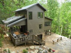 Screened in porch with swinging beds, outdoor fireplace and pool table, swing on side porch, hot tub - Asheville Vacation Rental - VRBO 379020 - 3 BR Smoky Mountains House in NC, Swinging Beds on Porch+3decks, Hot Tub, Pooltable, 3dtv, Wi-Fi